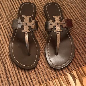 Tory Burch Miller sandals in color Mercury Size 7M